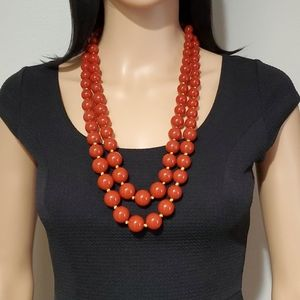 Vintage Red-Orange Beads Double Strand Necklace